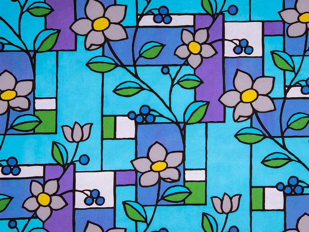 Statična folija vitraž cvetje